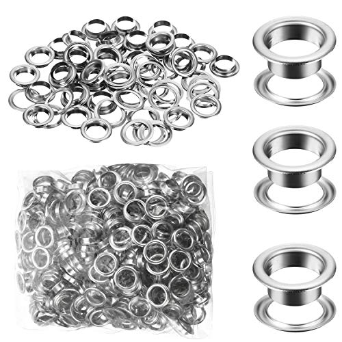 500 Pieces Grommet and 500 Pieces Washer Grommet Kit Nickel Finish Grommet Eyelet for Clothes Fabric Leather Tag Bag (Silver, 1/4 Inch)