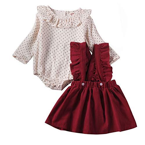 Neugeborene Säugling Baby Mädchen Kleidung Outfit Set 3 Stück Gestreiftes Oberteil + Hosenträger Rock + Bogenstirnband für 18M-6 Jahre alt (Gepunktet Rot, 9-12 Monate)