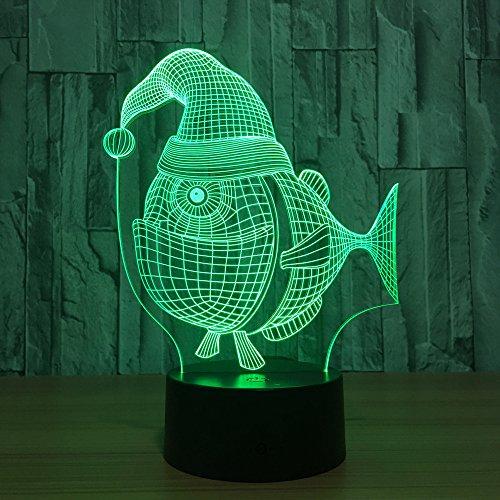 Yujzpl Fisch Mit Kappe 7 Farblicht 3D Visuelles Led-Nachtlicht Für Kinder Berühren Usb-Tabellenbabyschlafnachtlicht-Raumlicht Geschenk