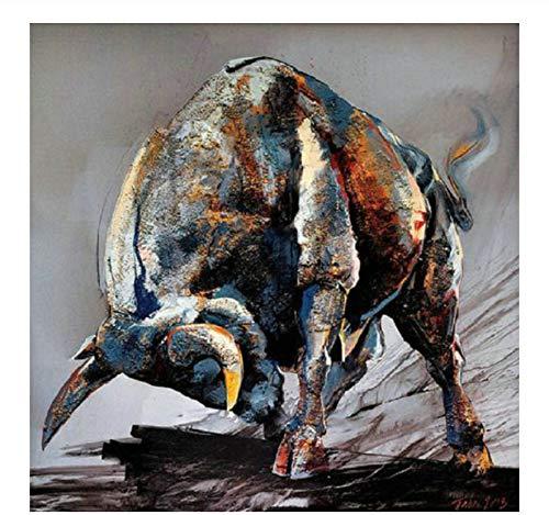 Diy Pintura Al Óleo Por Kits De Números,Toro Para Adultos Niños Lienzo Pared Arte Ilustraciones Para Decoración De La Pared Del Hogar 40x50cm