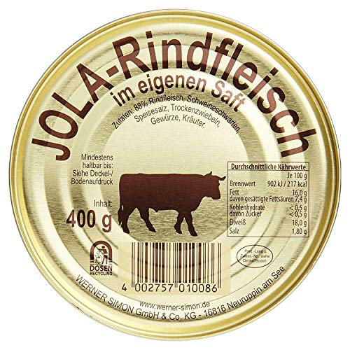 3 x 400gr Dosen Jola-Rindfleisch mit Schweineschwarten im eigenen Saft