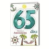 Age MV 69–2039tarjeta cumpleaños 65años hombre mujer diseño de jubilación reposo vacaciones palmeras hamaca ancla brújula timón sol