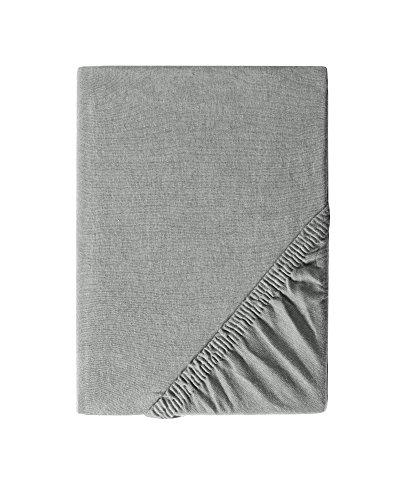 myHomery Spannbettlaken Leon Jersey Made IN EU - Spannbetttuch Basic 100% Baumwolle - Matratzenbezug 28cm Steghöhe - Bettlaken mit Gummi-Band - Betttuch Grau | 90x200 bis 100x200 cm 145g/m²