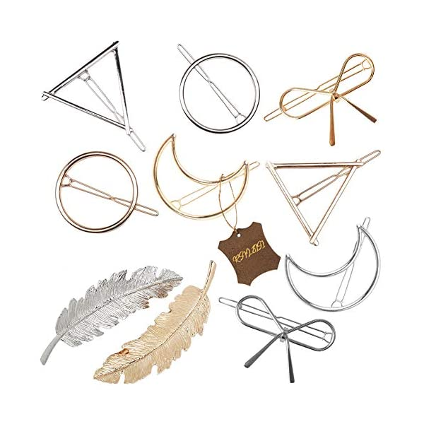 Beauty Shopping Gold Silver Minimalist Hair Clips Dainty Feather Hollow Hair Clips Set Feather Hair