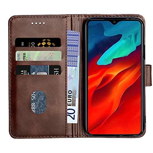 Baiyian Ledertasche Brieftasche Schutzhülle Flip Hülle für BlackviewA80Pro, Braun
