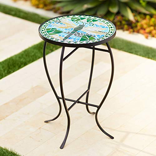 This little mosaic accent table is a pretty balcony furniture idea