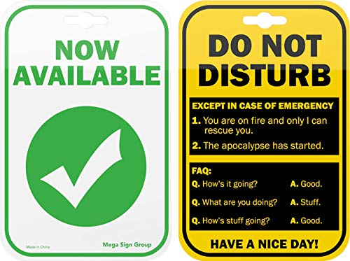 Do Not Disturb Privacy Double Sided Sign for the Office Cubicle Desk or Personal Room