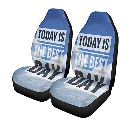 Set van 2 autostoelhoezen inspirerende motivatie heden heden heden heden is de beste dag op blauw universele auto voorkant Seat Protector 14-17IN