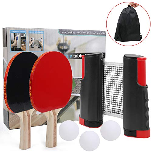 Save %23 Now! IAMGlobal Ping Pong Paddle Set with Retractable Net, 2 Premium Paddles Rackets, 3 Tabl...