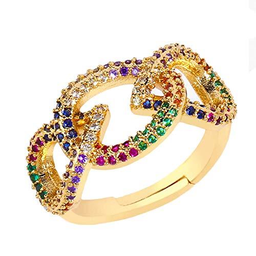 Hugyou - Anillo creativo colorido de cristal para mujer, accesorios de joyería para decoración