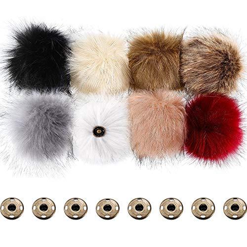 Pompones de Piel de Zorro Falso Bola Mullida con Botón de Presión Desmontable para Sombrero de Punto Zapato Bufanda Bolsa (Color B, 8 Piezas)