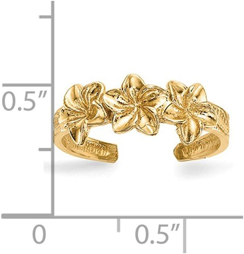14K Yellow Gold Polished Flowers Toe Ring