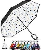 BAGAIL Paraguas invertido de doble capa, plegable, resistente al viento, protección UV, paraguas recto grande para la lluvia del coche, al aire libre, con mango en forma de C (gota de lluvia blanca)
