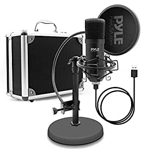 Pyle USB Microphone Podcast Recording Kit - Audio Cardioid Condenser Mic w/Desktop Stand and Pop Filter - for Gaming PS4, Streaming, Podcasting, Studio, YouTube, Works w/Windows Mac PC - PDMIKT100