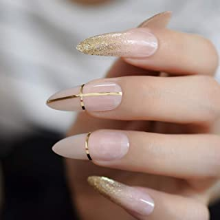 CoolNail Beige Nude Glitter French Stiletto Press on False Nails Extra Long Natural Sharp Poited Gold Cross Line UV Gel Fake Fingers Nail