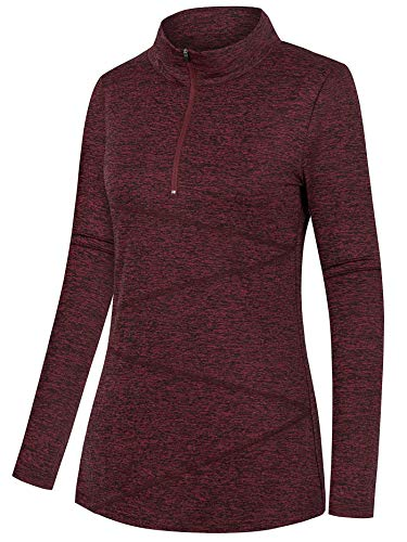 Nandashe Zip Hoodies for Women Lightweight, Modern Bodybuilders Fitness Enthusiasts Mockneck Thick Fabric Zip Front Breathable Swim Bicycling Long Sweaters Daily Home Wear Wine Red L