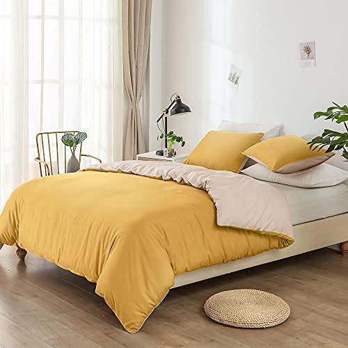 Lekesky Bettwäsche 135x200 Gelb Beige, Super Weich Mikrofaser Bettwäsche 2 teilig Set -1 Bettbezug + 1 Kissenbezug 80x80