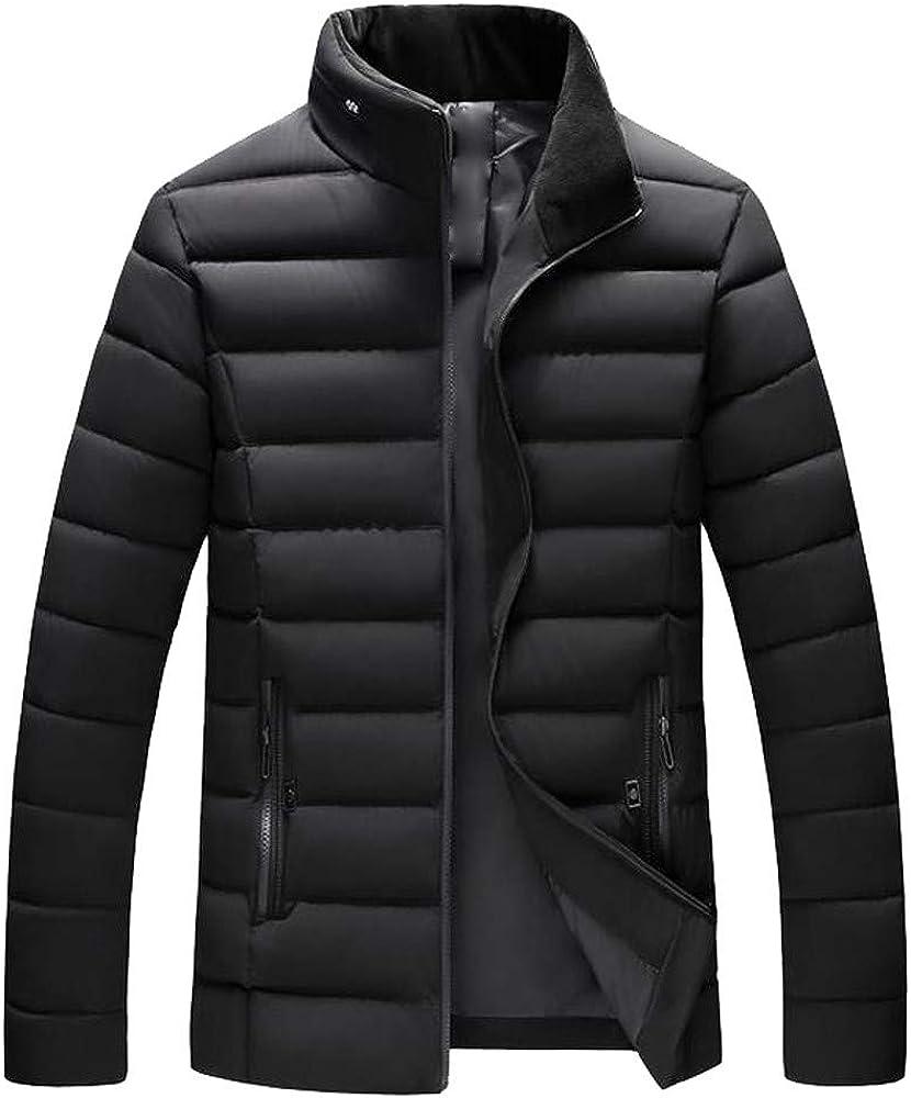 MODOQO Men's Packable Down Coat High Neck Padded Casual Zipper Jacket Top