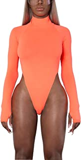 AZHONG Women's Basic Solid Sexy Bodysuit Turtleneck Leotard Top Long Sleeve Bodycon Jumpsuit Stretchy Romper
