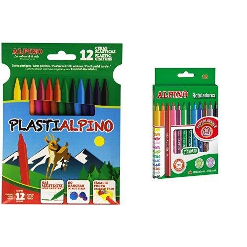 Alpino - Pack 12 ceras plásticas de colores Plastialpino + 12 rotuladores de colores