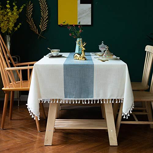DJUX Mantel de Tela de algodón y Lino de Encaje a Rayas Simple tapete de Mesa Cuadrado Mantel de Mesa de café 140 * 220 cm