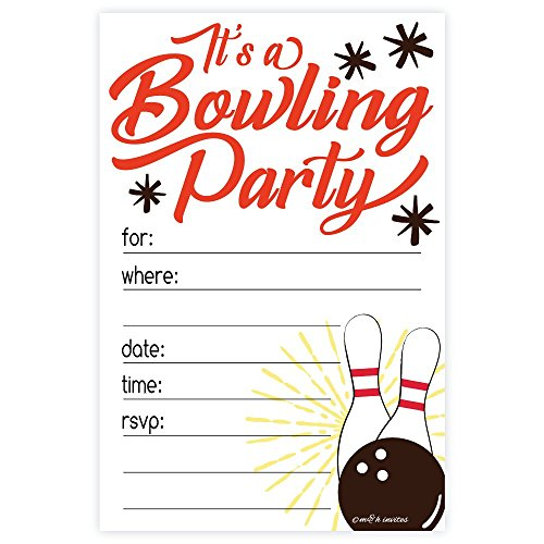 Bowling Party Invitations (20 Count) With Envelopes