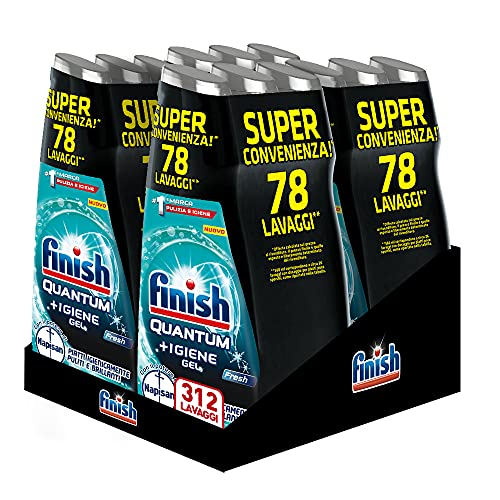 Finish Quantum +Igiene Gel Detersivo per Lavastoviglie Liquido con Potere di Napisan, Multiazione, Fresh, 312 Lavaggi, 12 Confezioni da 26 Lavaggi