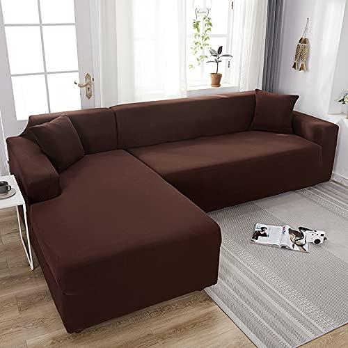 Funda elástica para sofá Chaise Longue, Funda para Sofa en Forma L, Funda Chaise Longue Derecho/Izquierdo (un sofá esquinero en L Requiere 2) (Color : Q, Size : 2 plazas (145-185cm))