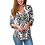 Womens Fashion Boho Floral Print V Neck 3/4 Cuffed Sleeve Blouse Tops Shirts Pullover