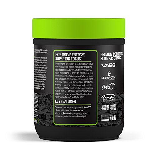 MusclePharm, Wreckage Pre-Workout, Sour Candy, 13.23 oz (375 g) - 51d7ezwvwRL
