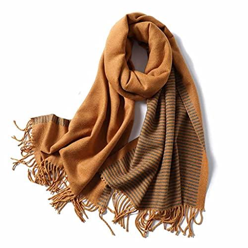ECSWP KAIDANLE Nueva Bufanda de Invierno para Mujer, chales de Cachemira a Rayas de Moda y Abrigo, pañuelo de Pashmina para Mujer, Bufandas de Cuello Grueso para Mujer (Color : Yellow)