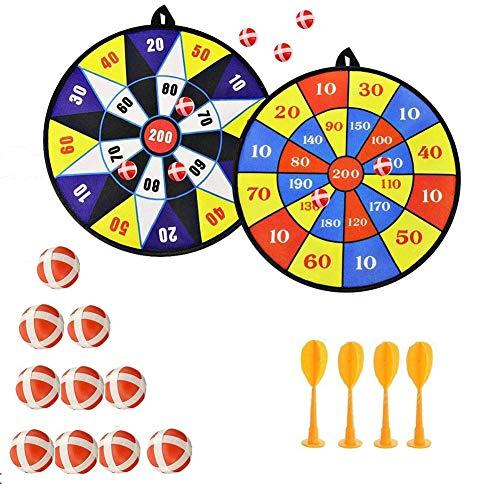 Queta Kinder Sicher Stoff Dart Brettspiel Set 10 Sticky Balls 4 Safety Darts Selbstklebendes Target Sports Indoor Outdoor Toss Game, Dart Wurf Spiel Scheibe für Groß und Klein