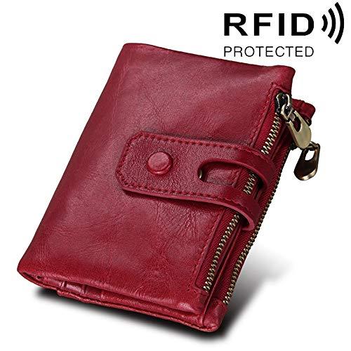 Gift Echte rundleer Crazy Horse Texture 3-voudige kaarthouder Rits portemonnee RFID blokkeren muntportemonnee Bescherm Case Card Bag voor mannen, Afmetingen: 12 * 9,5 * 3,5 cm Decoratie