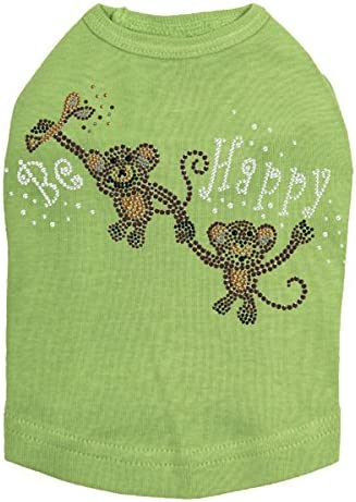 Monkeys - Be Happy Dog 4XL Green Shirt New item We OFFer at cheap prices Lime