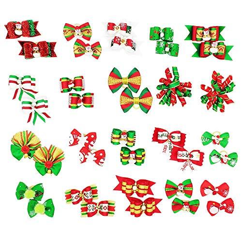 Hixixi 24 piezas/12 pares de lazos para el pelo para mascotas, perros, gatos, diseños de Navidad 3D, para Navidad, vacaciones, cachorros, accesorios para el pelo con bandas de goma