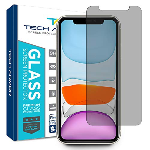 Tech Armor Privacy Ballistic Glass Screen Protector for New Apple iPhone 11 / iPhone Xr [1-Pack] Case-Friendly Tempered Glass, Haptic Touch Accurate Designed for 2019 Apple iPhone 11