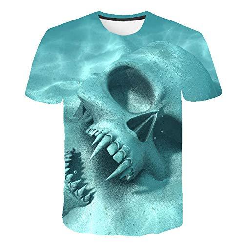 CFWL 3D Herren T-Shirt Horror Muster Kurzarm Top Short Sleeved Freizeithemd Hemd Kariertes Freizeithemd Normale Passform Lange äRmel Flanellhemden Slim-Fit Short Blau S