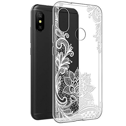 Funda Xiaomi Mi A2 Lite, Eouine Cárcasa Silicona 3D Transparente con Dibujos Diseño [Antigolpes] de Protector Fundas para Movil Xiaomi Mi A2 Lite/Xiaomi Redmi 6Pro - 5,84 Pulgadas (Flor Blanca)