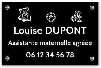 Personaliseerbaar bord voor de kleuterschool, personaliseerbaar, afmetingen 30 x 20 cm, zwarte witte letters – schroeven +...