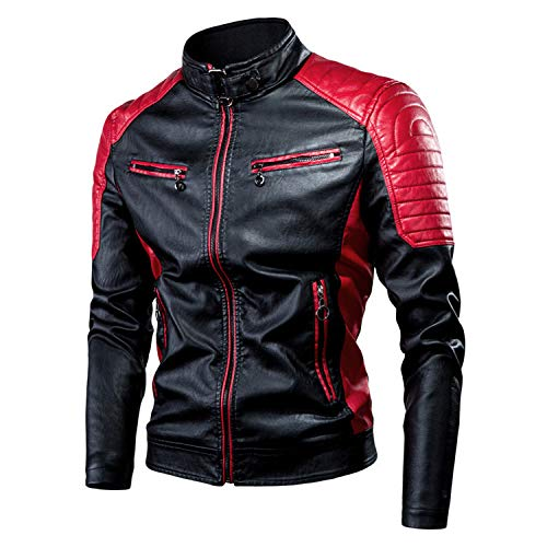 GQDP Leather Jacket Autumn and Winter Leisure Motorcycle Stitching Wool Men's Fashion Retro Warm Coat Red