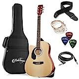 Ashthorpe Full-Size Left-Handed Dreadnought Cutaway Acoustic-Electric Guitar Bundle - Premium...