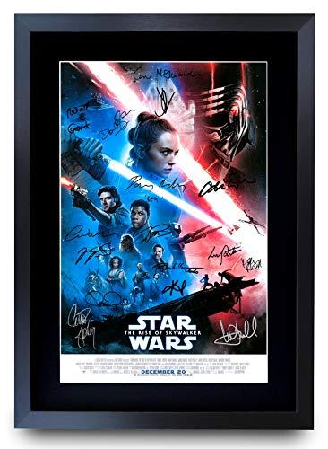 HWC Trading A3 FR The Rise of Skywalker Star Wars Geschenke, gedrucktes Poster, signiertes Autogramm für Film-Fans, gerahmt
