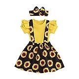Toddler Baby Girls Skirt Set Short Sleeve Ruffle Tops+Floral Skirt+Bowknot Headband 3Pcs Toddler Girl...
