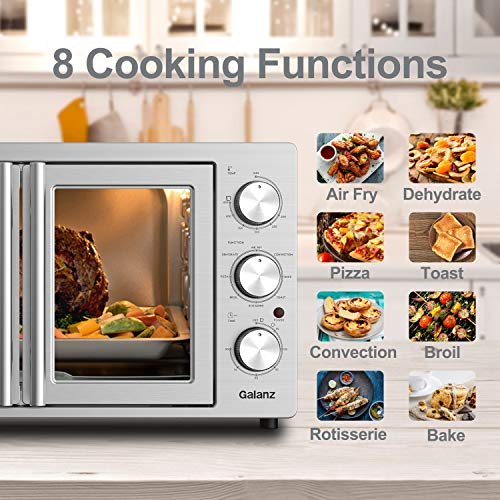 Galanz GFSK215S2MAQ18 French Door Toaster Oven with TotalFry 360 (Enhanced Air Fry Technology) 1800W/120V, 1.5 Cu.Ft Capacity, 8 Cooking Functions, 42L Manual, Stainless Steel