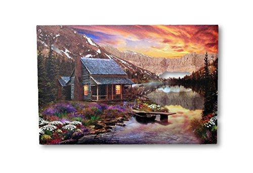 1 LED Wandbild Haus am See Berge Bild Beleuchtet je 60 x 40 cm Leinwand