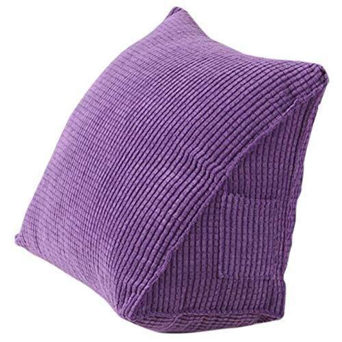 Tokyia Cojín de respaldo de lectura, cojín de cuña, cojín lumbar, cama, silla de oficina, almohada de apoyo para la espalda (morado)