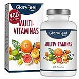 GloryFeel Multivitaminas y Minerales - 450 Comprimidos Multivitamínicos Veganos - (Suministro por más de 1 año) Vitaminas y Minerales Activos Esenciales para Hombres y Mujeres