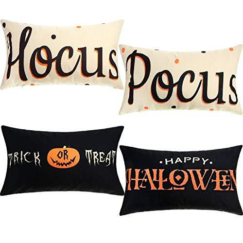 Boao 4 Piezas Fundas de Almohada Happy Halloween Funda de Almohada Treat o Trick Fundas de cojín Hocus y Pocus Decoración de Lino de algodón para Halloween