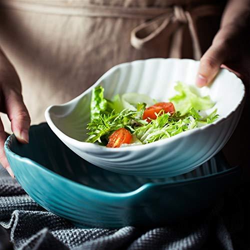 H/A Tazón de 22,8 cm de concha de ensalada de frutas de cerámica mate, cuenco de arroz para el hogar InS estilo creativo vajilla TOM-EU (color: blanco, tamaño: 22-22,9 cm)