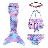 RIKILIO 4 Stück Mädchen Meerjungfrauenschwanz zum Schwimmen 130cm Meerjungfrau Badeanzug mit blumenkranz haare, Cosplay Kostüm für Kinder Meerjungfrauenflosse Mädchen Bademode ohne Monoflosse